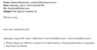Email Balasan Pengembang Aplikasi Prisma