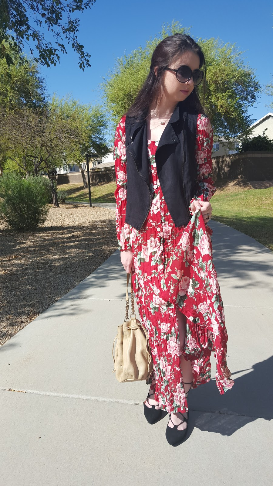 Floral Maxi Dress with suede vest and lace up flats