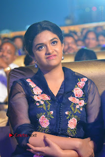 Actress Keerthi Suresh Stills in Blue Long Dress at Nenu Local Audio Launch  0005.JPG