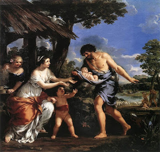 Nicolas Mignard's 1654 painting shows Faustulus  bringing home Romulus and Remus to his wife