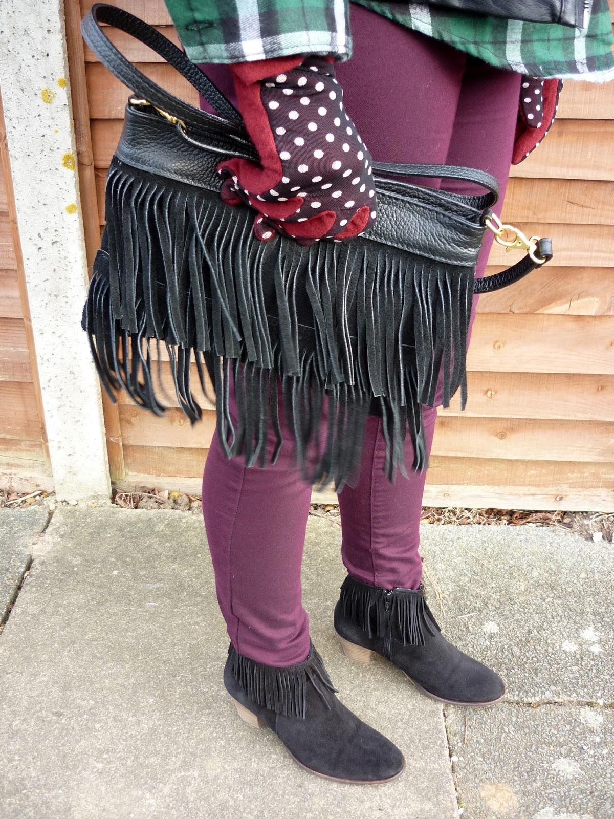 Joy Fringe Bag, Bata Fringe Boots, Dorothy Perkins Skinnies | Petite Silver Vixen