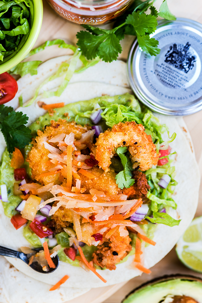Shrimp Tacos with Guacamole and Spicy Slaw