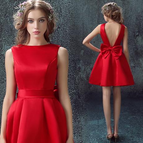 vestidos rojos de seda cortos