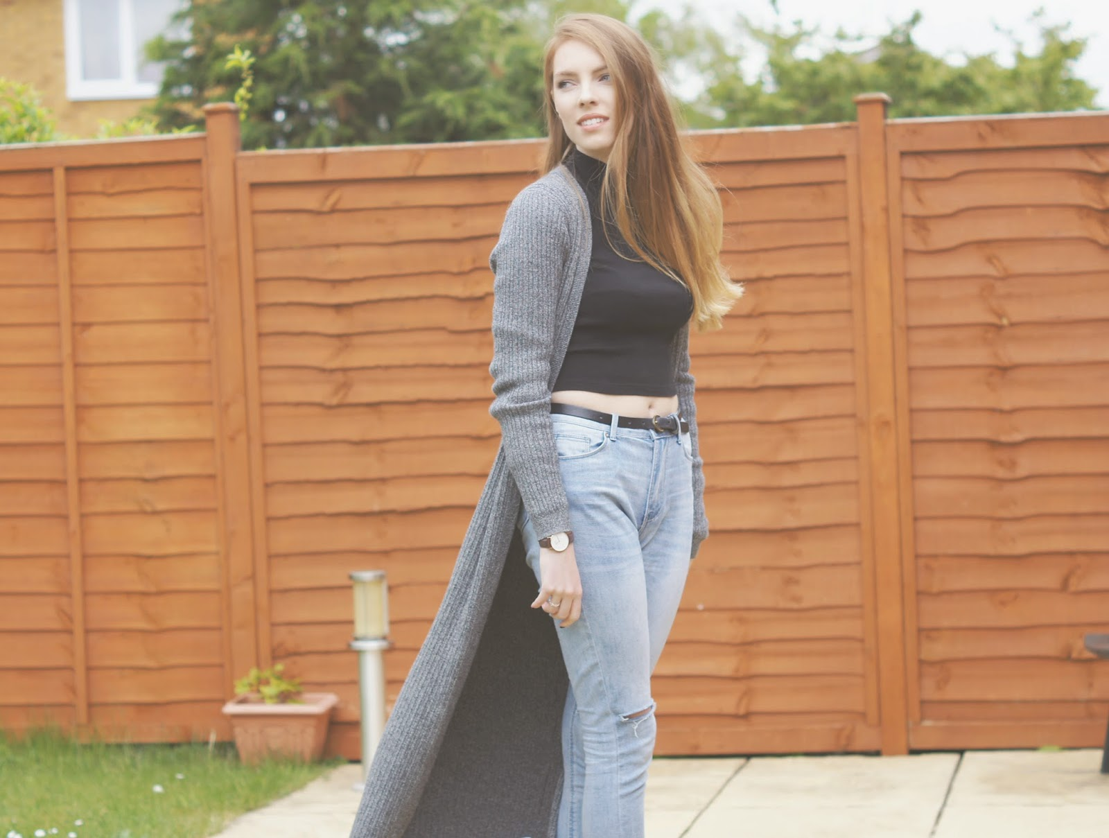 grey ribbed maxi cardigan