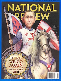 Las cruzadas vistas por los Occidentales. Portada de la revista norteamericana National Review en la que  Bush aparece como un cruzada.
