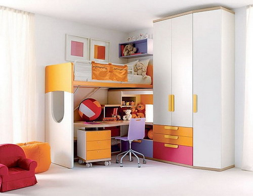 innovative girls bedroom furniture ideas | Innovative Loft Bed With Desk For Space Optimization In ...