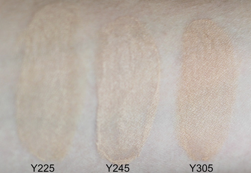Make Up For Ever Water Blend Foundation Swatches Y225 Y245 Y305