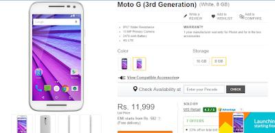Flipkart Offer || Buy Moto G (3rd Generation)  only at 11999