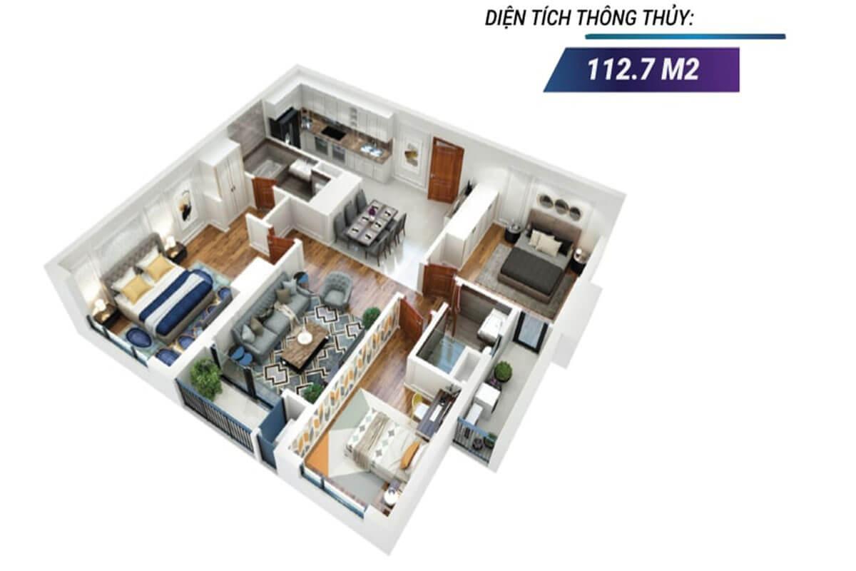 Mặt bằng 3D căn hộ 08 tòa Sapphire 2