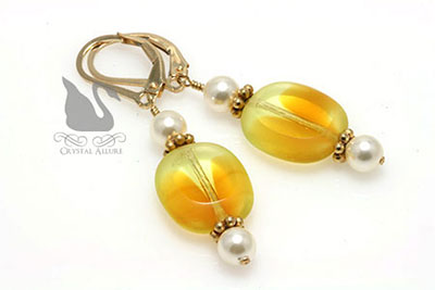 Yellow Pearl Czech Window Beaded Earrings (E190)