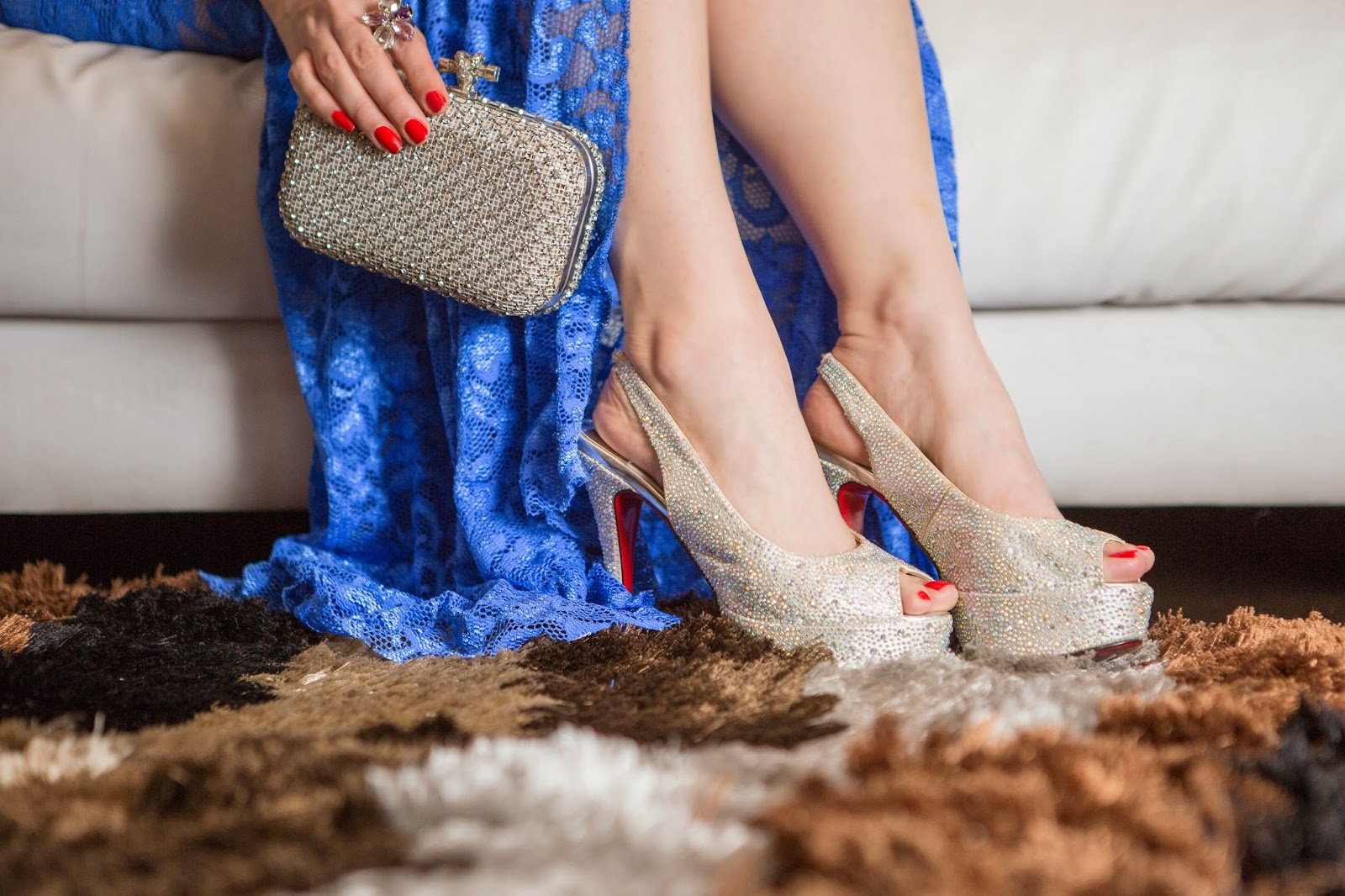 Christian Louboutin Crystal Studded Heels & Crystal Embellished Clutch