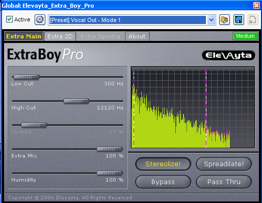 Extra boy pro spectral-spatial isolator plugin for vocal removal.