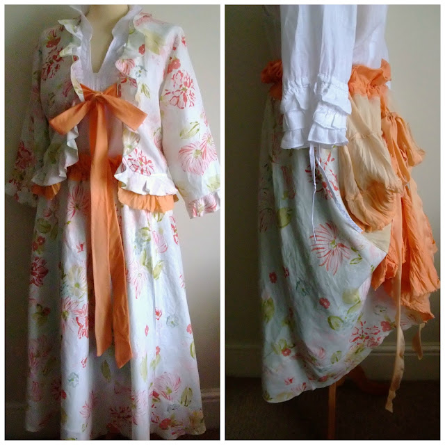 Peach and White Victoriana Tiered Skirt & Bolero by Karen Vallerius