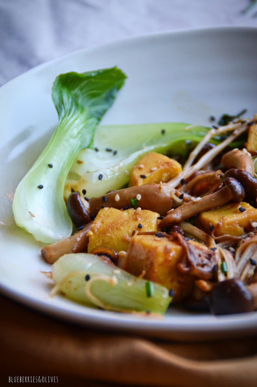 STIR-FRIED MUSHROOMS, BOK CHOY AND CHICKPEA TOFU
