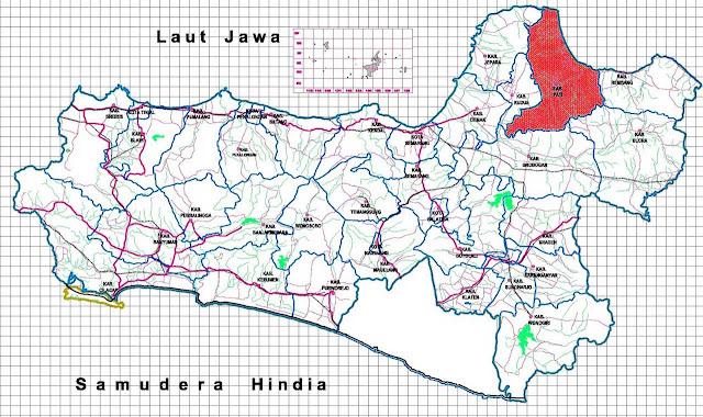Gambar Peta kabupaten Pati pada peta Jawa Tengah
