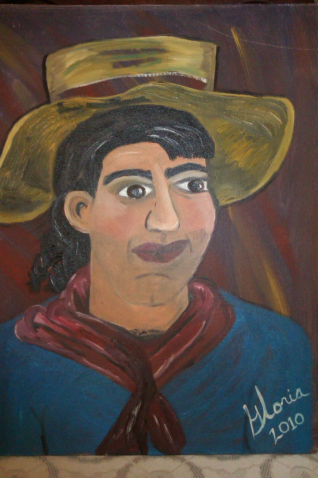 """Brazilian man"" oil painting by Gloria Poole; yr 2010"