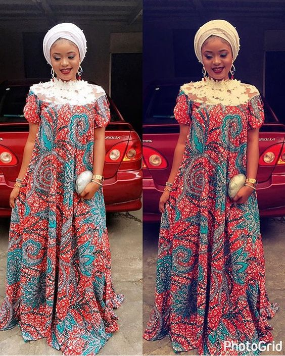 Classic Turtle Neck Ankara Gown Styles for Ladies ; Ankara and Lace ...