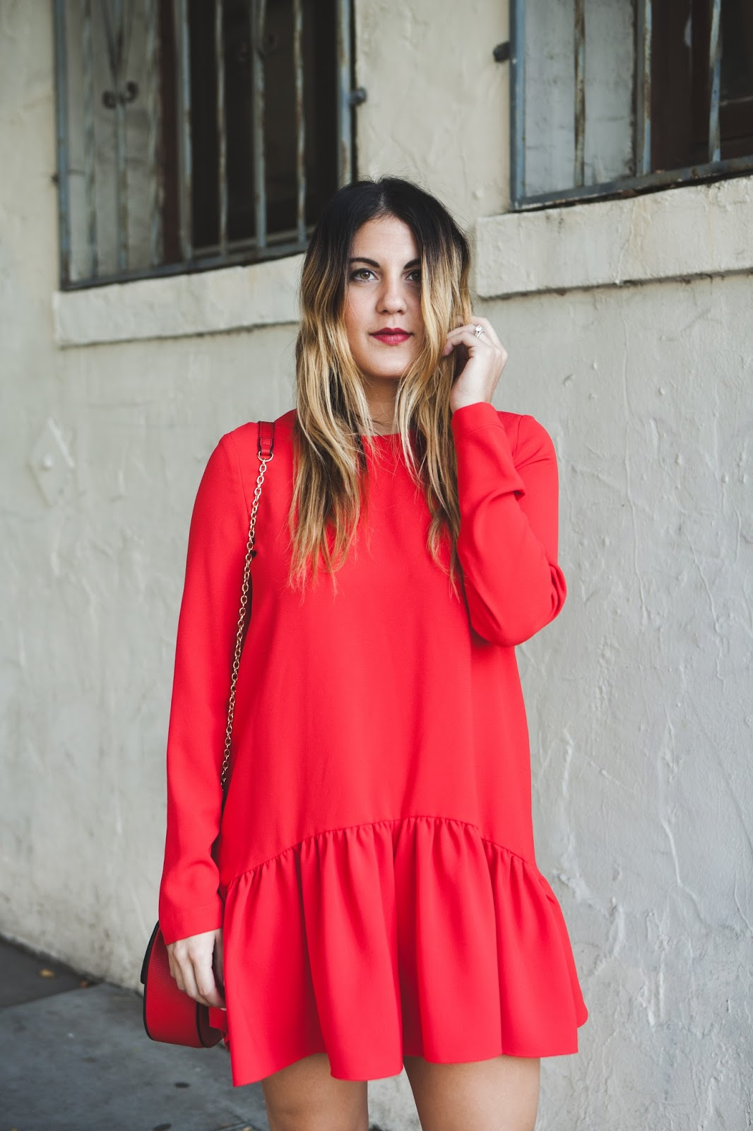Zara Red Romper -- Christmas Day Style @taylorwinkelmeyer