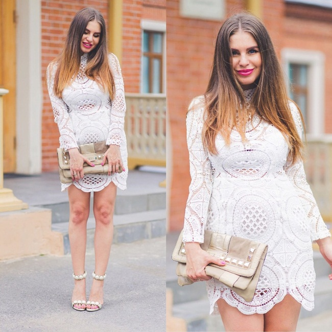 Sheinside 2015 Fall White Lace Turtle Neck Dress