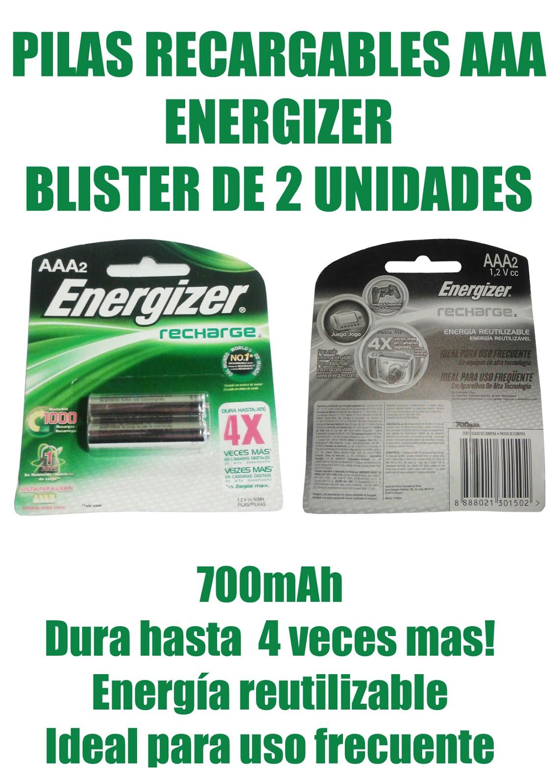 Jugueter a le n pilas energizer recargables aaa x 2 - Pilas recargables aaa ...