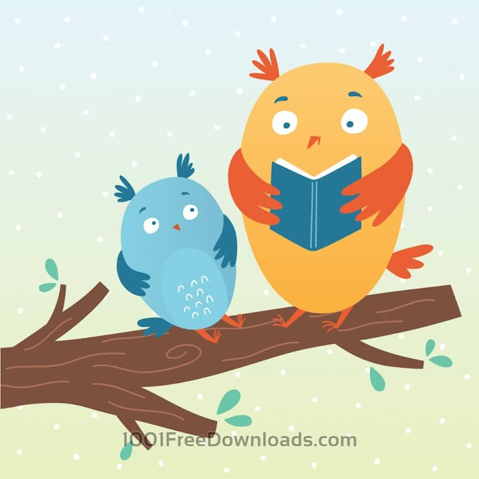 Illustration of cute owls reading a book free Vector