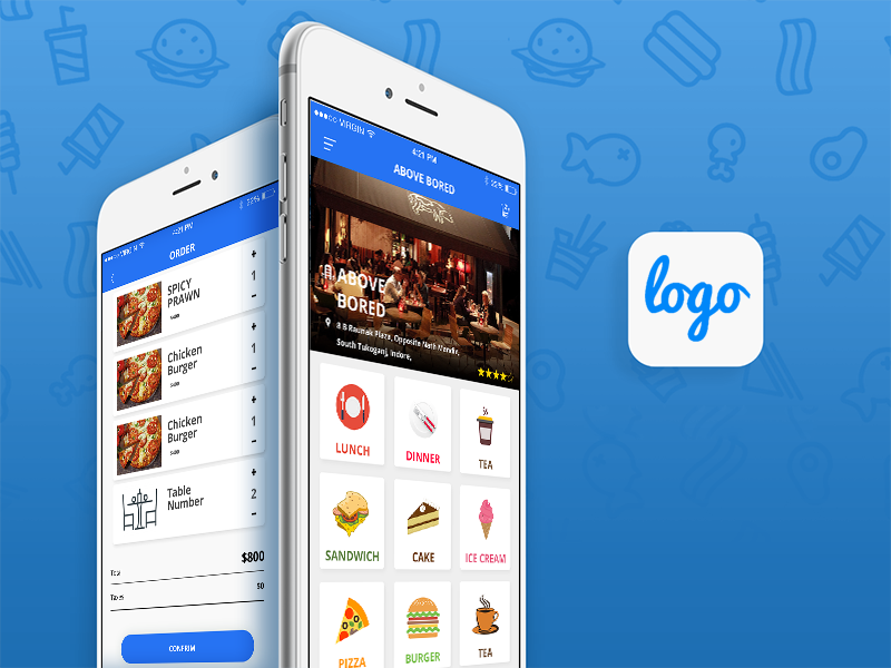 Restaurant app design template free android ios for