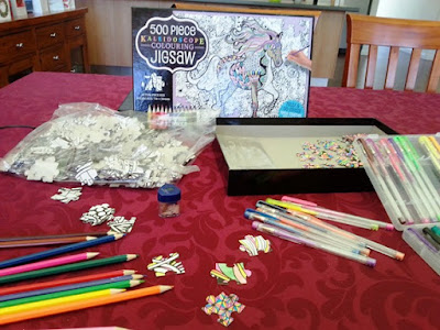 Taking colouring in to the next level - a jigsaw that needs to be coloured as well as put together