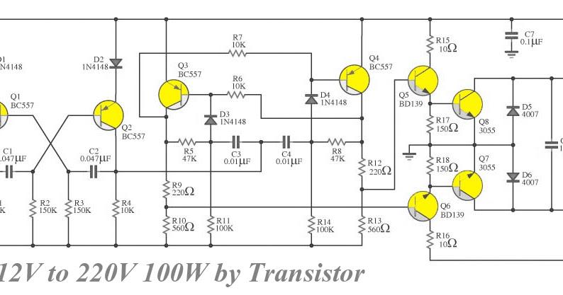 Transistor Inverter circuit 12V to 220V 100W ~ Diagram circuit