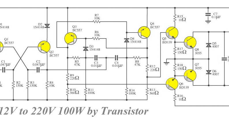 Transistor Inverter circuit 12V to 220V 100W ~ Diagram circuit