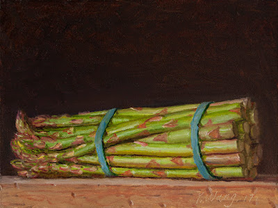 a bunch of asparagus original oil painting a day still life realism