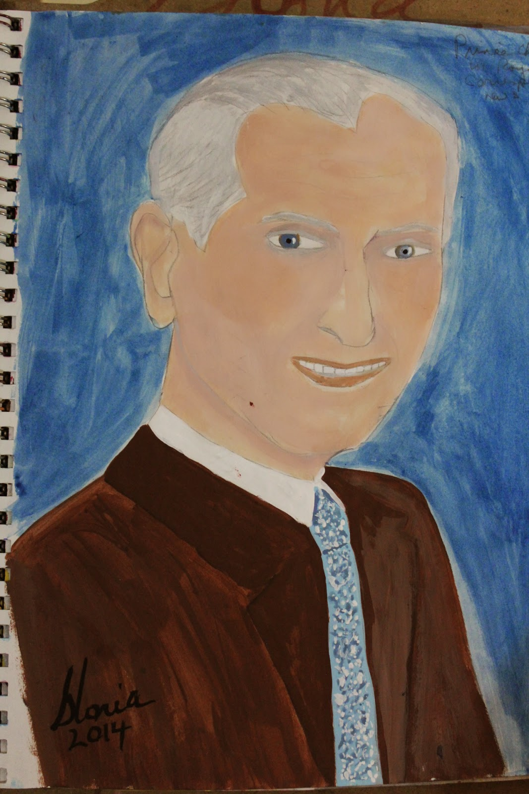 Prince Charles 2014 sketch by Gloria Poole of Missouri; 7-May-2014; acrylics