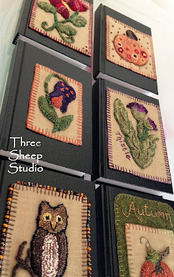Small Books embellished with Punch Needle Embroidery by Rose Clay at ThreeSheepStudio.com