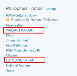 'Luto ang Laban' and 'Walang Kakain' dominated the list of local trends.