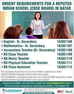 Teacher job Gulf jobs walkins for Qatar text image