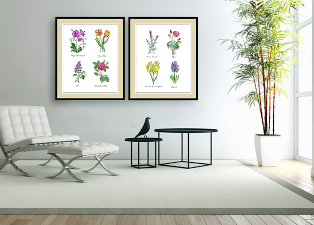 Botanical Flowers in Watercolor in Home Interior Decor