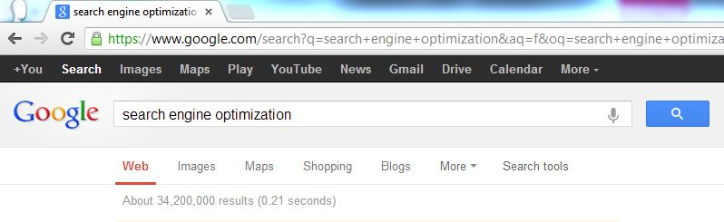 "About 34,200,000 results in 0.21 seconds when searching for ""seach engine optimization"" on google"