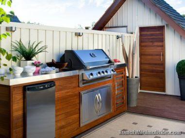 dapur terbuka menghadap taman