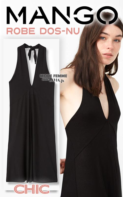 Robe courte dos-nu mi-longue noire MANGO