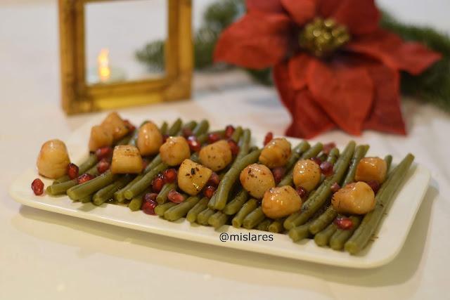 Receta de ensalada templada de judias y vieras con vinagreta de alcaparras