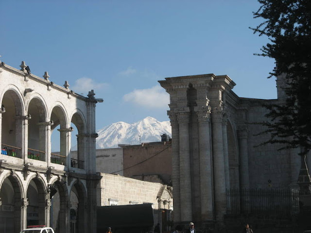 view of volcano Misti from the Plaza de Armas, Arequipa, Peru