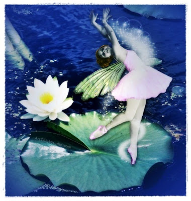 Lily Pad Flower Fairy Digital Collage