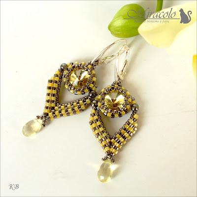 kolczyki z rivoli i kwarcem, rivoli and quartz earrings