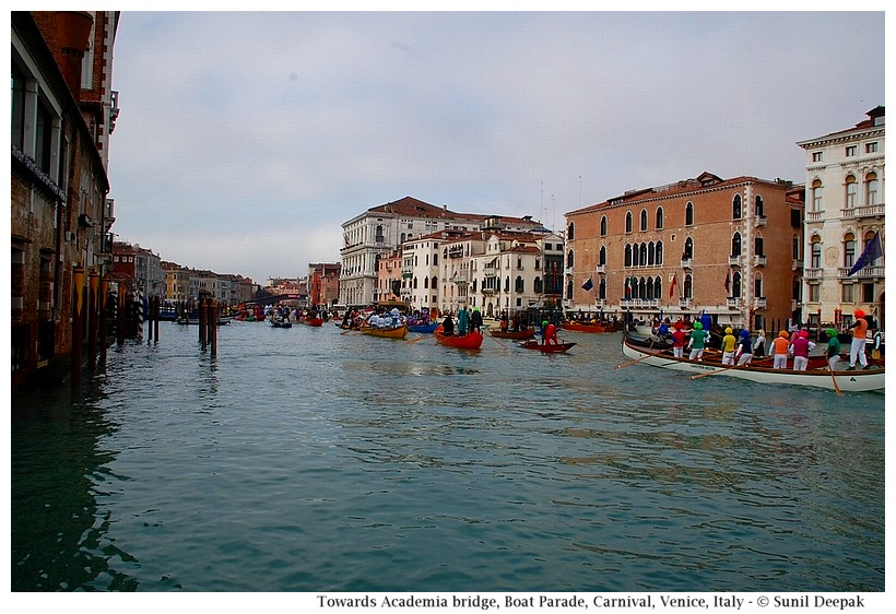 Boats going towards Academia bridge, Grand Canal, Boat Parade, Carnival, Venice, Italy - © Sunil Deepak