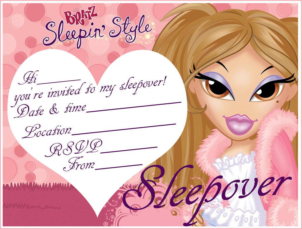 Bratz Printable Invitations To A Sleepover Party
