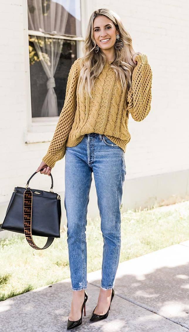 fall trends | yellow knit sweater + bag + boyfriend jeans + black heels