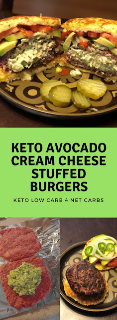 Keto Avocado Cream Cheese Stuffed Burgers
