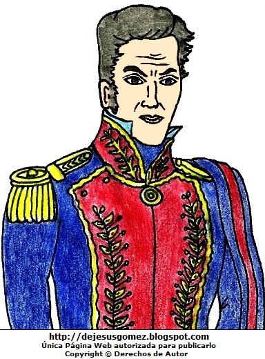 Dibujo de Simón Bolivar a colores, imagen de Simón Bolivar para niños. Dibujo de Simón Bolivar hecho por Jesus Gómez