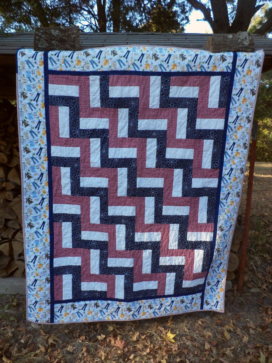Kat & Cat Quilts: Red White and Blue Rail Fence Quilt