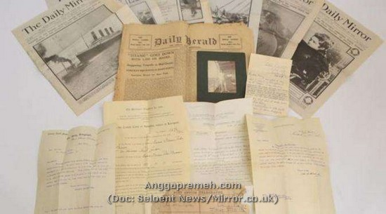 Dokumentasi media massa yang memberitakan tenggelamnya kapal titanic dan Surat terakhir William Barrows