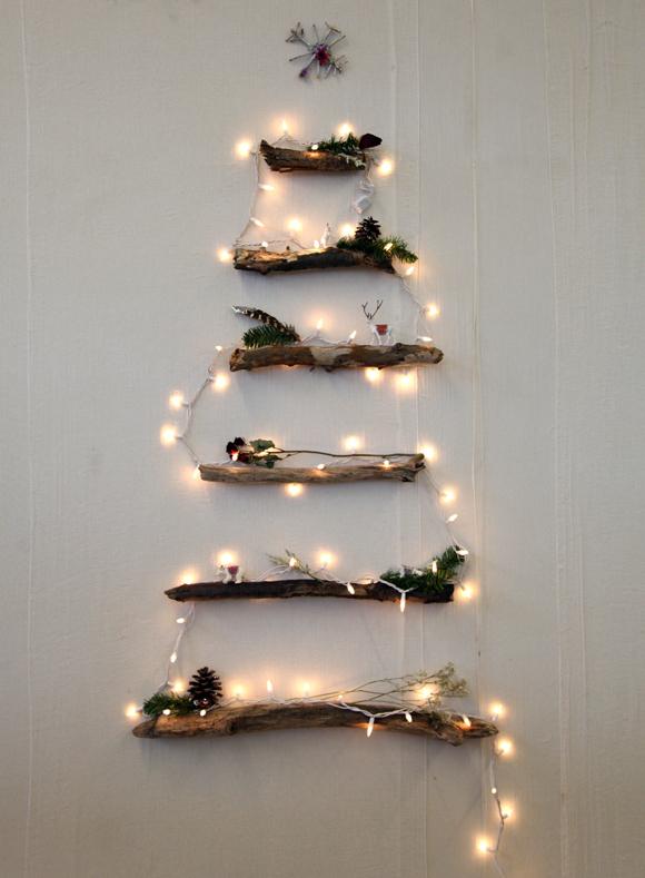 Decoracion DIY Navidad: Ramas árbol luces